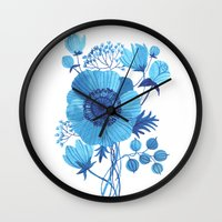 blues Wall Clocks featuring BLUES by Oana Befort