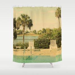 Lolita's Poolside Vacation - Beach Art Shower Curtain