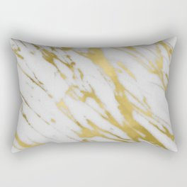 Gold White Marble Rectangular Pillow