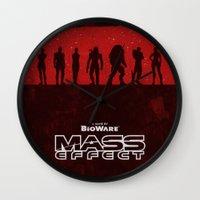 mass effect Wall Clocks featuring Mass Effect 1 by Bill Pyle