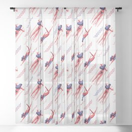 Swimming Woman Pattern Sheer Curtain