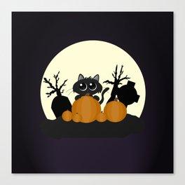 Halloween Black Cat with Pumpkins in a Graveyard Canvas Print