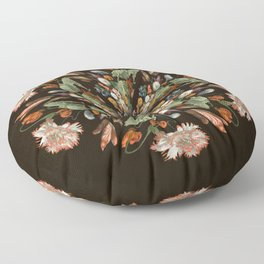 Flemish Floral Mandala 3 Floor Pillow