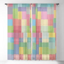 Mid-Century Modern Colorful Geometric Sheer Curtain