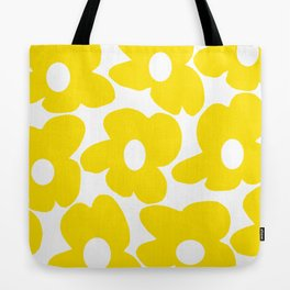 Large Yellow Retro Flowers on White Background #decor #society6 #buyart Tote Bag