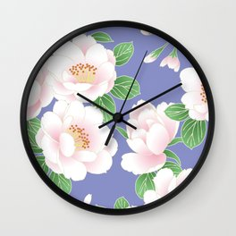 Japanese Vintage Floral Kimono Pattern with Chinese Peonies Wall Clock