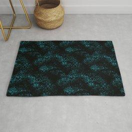 Distressed Black and Teal Floral Grunge Pattern Rug