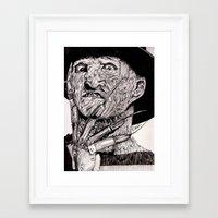 freddy krueger Framed Art Prints featuring Freddy Krueger by Emz Illustration