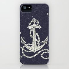 Navy Blue Nautical White Anchor for Sailor Texture Slim Case iPhone (5, 5s)