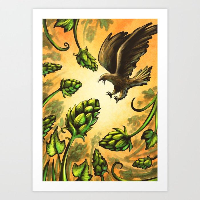 Screaming Eagle and Raging Hops (Warm) Art Print by allanmcinnes ...