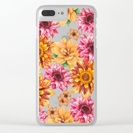 Orange magenta brown hand painted watercolor floral Clear iPhone Case