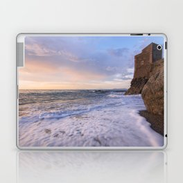 Golden hour with a lighthouse in the beach Laptop & iPad Skin