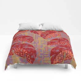Hawaiian Lava Leaves Tapa Print Comforters