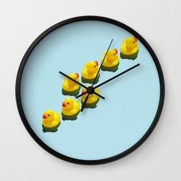 Yellow rubber ducks Wall Clock