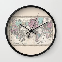 1855 Colton Map of the World on Mercator Projection Wall Clock