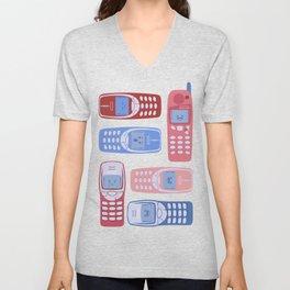Vintage Cellphone Reactions Unisex V-Neck