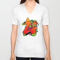 graffiti V-neck T-shirts featuring Graffiti by Sobhani