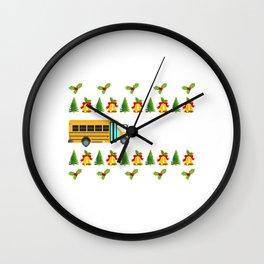 Santa Claus Gift Giving Collection Bus Driver T-shirt Design Santa Claus Gift Giving Mission Wall Clock