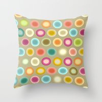buffy Throw Pillows featuring polka buffy by Sharon Turner
