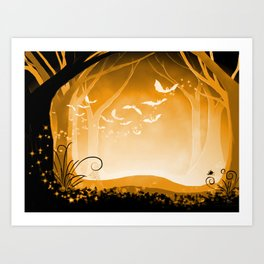 Dark Forest at Dawn in Amber Art Print
