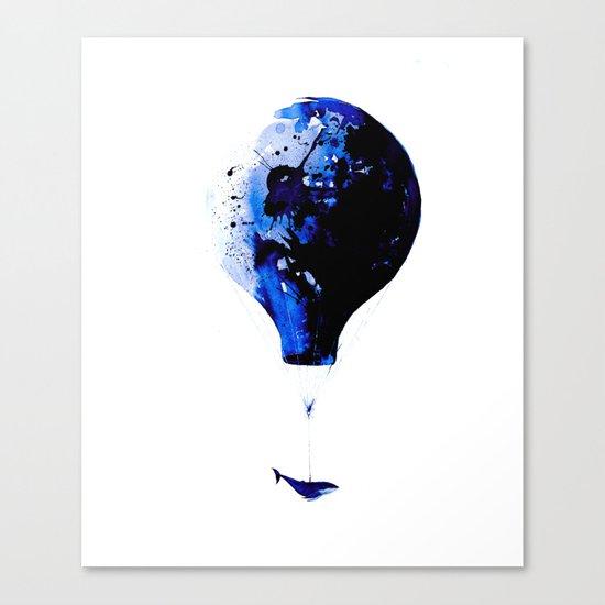 Blue journey #whale #balloon #travel #blue Canvas Print