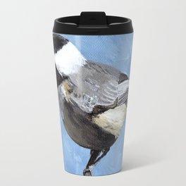 Chickadee Art, Blue Painting Travel Mug