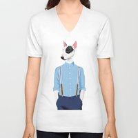 bull terrier V-neck T-shirts featuring Skinhead Bull Terrier by drawgood