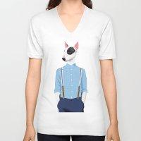 bull terrier V-neck T-shirts featuring Skinhead Bull Terrier by Studio Drawgood