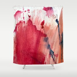Blushing [3]: a vibrant, minimal abstract in pink, red, rose gold, and blue details Shower Curtain