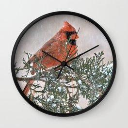 Snowfall Cardinal Wall Clock