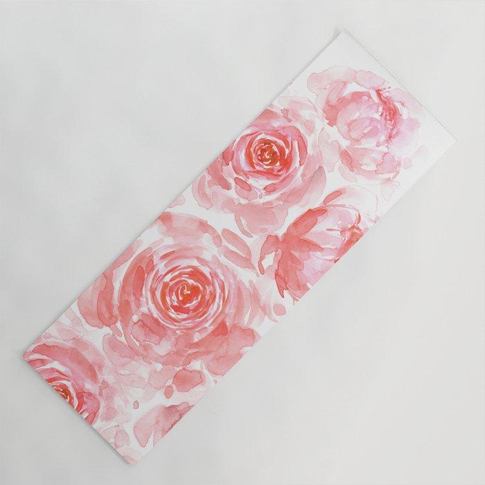 Dreamy pink watercolor peonies Yoga Mat