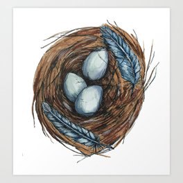Blue Bird Nest Art Print