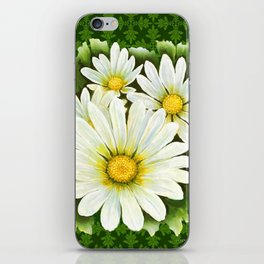 Daisies On Vintage Green iPhone Skin