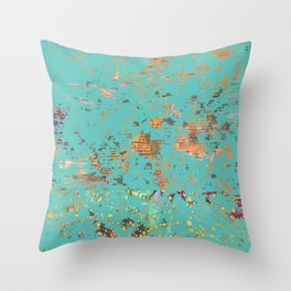 Aqua Bohemian Textile Art Throw Pillow