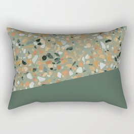 Terrazzo Texture Military Green #4 Rectangular Pillow