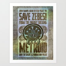 Save Zebes! Metroid Geek Art Vintage Poster Art Print