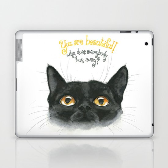 Black - Cat Laptop & iPad Skin