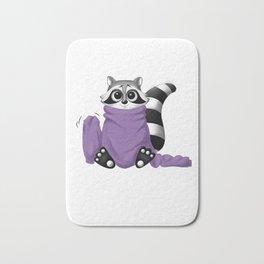 Raccoon with too big purple sweater on Bath Mat