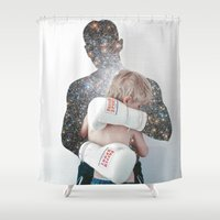 street fighter Shower Curtains featuring fighter by marzesu collages