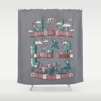 video games Shower Curtains featuring The X Games by Taylor Rose