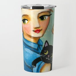 """Rosie the Riveter with Black Cat """"We can do it"""" painting by Tascha Travel Mug"""