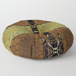 Bronze, Gold Striped Tile black, gold leaf, copper, bronze,) Persian Style  Floor Pillow