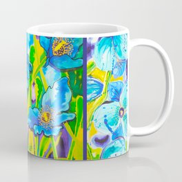 Blue Poppies 2 with Border Coffee Mug