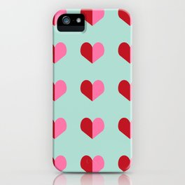 Heart love valentines day hearts pattern mint red valentine pattern iPhone Case