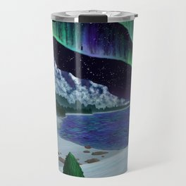 Northern Lights Over Snowscape Travel Mug
