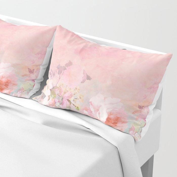Modern blush watercolor ombre floral watercolor pattern Pillow Sham