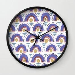 Boho Rainbow - Dusty Purple Wall Clock