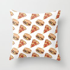 Pizza love Burger Throw Pillow