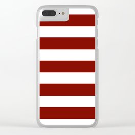 Barn red - solid color - white stripes pattern Clear iPhone Case