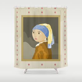 Girl with pearl by Vermeer  Shower Curtain